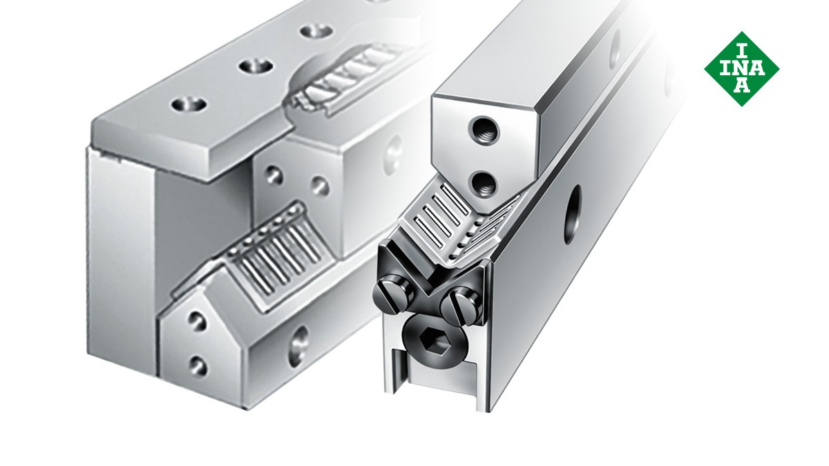 Schaeffler linear guides: ML and V guideways with adjusting gib and angled flat cage
